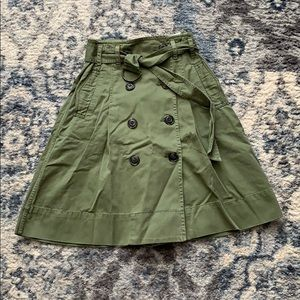 NWT J Crew Army Green Trench Skirt